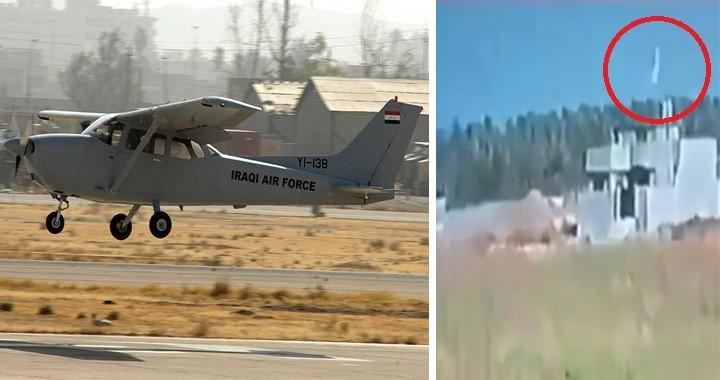 CCTV Footage Shows Iraqi Air Force Plane Crashing Killing Both Pilots